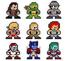 8-bit 80s Cartoon Heroes Photographic Print