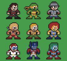 8-bit 80s Cartoon Heroes Kids Tee
