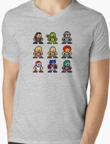 8-bit 80s Cartoon Heroes Mens V-Neck T-Shirt