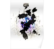 Blue Pink Black Flower Twist Poster