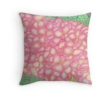 Pink Hydrangea Watercolor Throw Pillow