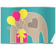 Happy Birthday Elephant (Turquoise) Poster
