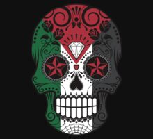 Sugar Skull with Roses and Flag of Palestine Kids Tee