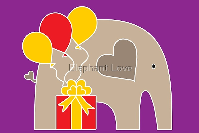 Happy Birthday Love Purple ~ Quot happy birthday elephant purple greeting cards by love redbubble