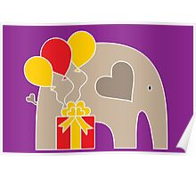 Happy Birthday Elephant (Purple) Poster