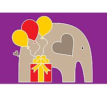 Happy Birthday Elephant (Purple) Photographic Print