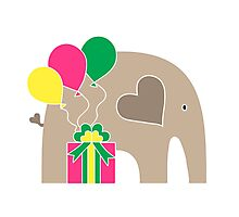 Happy Birthday Elephant Photographic Print
