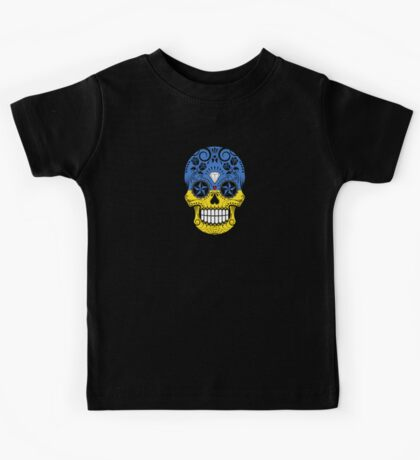 Sugar Skull with Roses and Flag of Ukraine Kids Tee