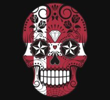 Sugar Skull with Roses and Flag of Denmark Baby Tee