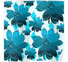 Lily Blue Floral Poster