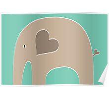 Safari Elephant - Turquoise Poster