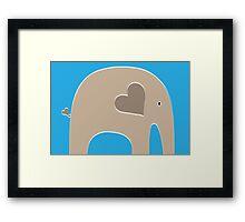 Safari Elephant - Blue Framed Print
