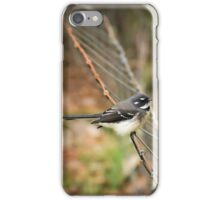 Grey Fantail on a fence iPhone Case/Skin