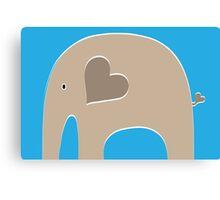 Safari Elephant - Blue Canvas Print