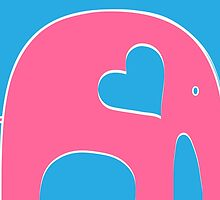 Pink and Blue Elephant by Elephant Love