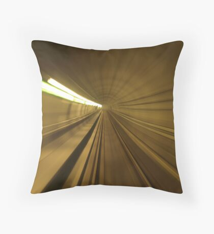 motion blur on rail track Throw Pillow