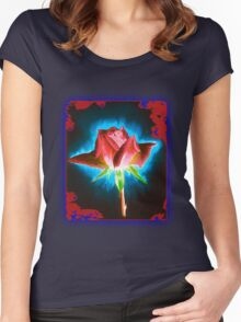 Rose on Black Women's Fitted Scoop T-Shirt