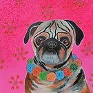Pug On Pink by Bea Roberts