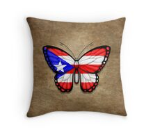 Puerto Rican Flag Butterfly Throw Pillow