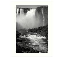 Down the Throat - Iguazu Falls - in monochrome Art Print