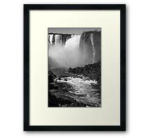 Down the Throat - Iguazu Falls - in monochrome Framed Print