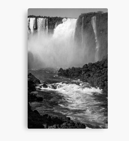 Down the Throat - Iguazu Falls - in monochrome Canvas Print