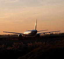 Sunset and the plane by AniaR