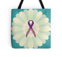Purple Ribbon - Turqoise Yellow Floral Design  Tote Bag