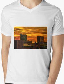 Golden Detroit sunrise Mens V-Neck T-Shirt
