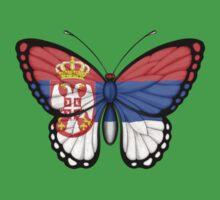 Serbian Flag Butterfly Kids Tee