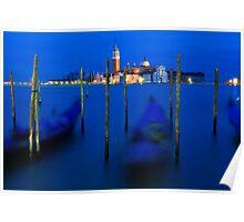 San Giorgio Maggiore and Gondolas - Venice, Italy Poster