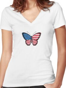 American Flag Butterfly Women's Fitted V-Neck T-Shirt