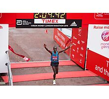 Eliud Kipchoge (KEN) Elite male winner of the Virgin money London Marathon Photographic Print