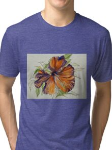 Red hibiscus Hawaii: pen and wash. Tri-blend T-Shirt