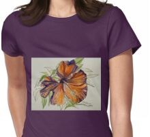 Red hibiscus Hawaii: pen and wash. Womens Fitted T-Shirt