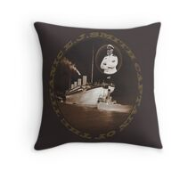 ☝ ☞ EJ SMITH CAPTAIN OF THE TITANIC & TITANIC PILLOW AND OR TOTE BAG-VERSION TWO WITH TEXT.. -Titanic leaving Belfast with two guiding tugs ☝ ☞ Throw Pillow