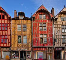 Colorful buildings in Troyes France by MaluC