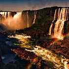 Rainbow over the River - Fiery Night Artistic by photograham
