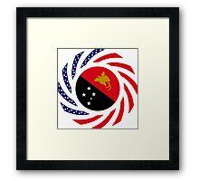 Papau New Guinean American Multinational Patriot Flag Series Framed Print