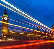 Light Trails at the Big Ben and Westminster Bridge in London, England by Yen Baet