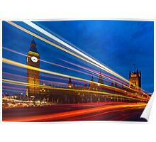 Light Trails at the Big Ben and Westminster Bridge in London, England Poster