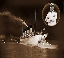 ☝ ☞ EJ SMITH CAPTAIN OF THE TITANIC-Titanic leaving Belfast with two guiding tugs VERSION ONE PILLOWS,TOTE BAGS ,PICTURE,ECT. ☝ ☞ by ✿✿ Bonita ✿✿ ђєℓℓσ