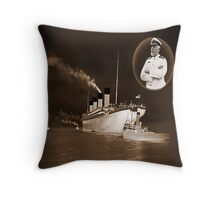 ☝ ☞ EJ SMITH CAPTAIN OF THE TITANIC-Titanic leaving Belfast with two guiding tugs VERSION ONE PILLOWS,TOTE BAGS ,PICTURE,ECT. ☝ ☞ Throw Pillow