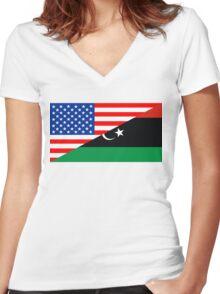 usa libya Women's Fitted V-Neck T-Shirt
