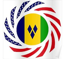 Saint Vincentian American Multinational Patriot Flag Series Poster