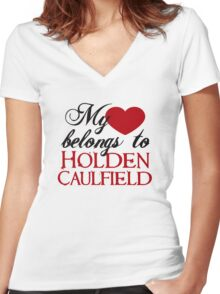My Heart Belongs To Holden Caulfield Women's Fitted V-Neck T-Shirt