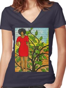 Feeling ONE with Nature - SILK Women's Fitted V-Neck T-Shirt