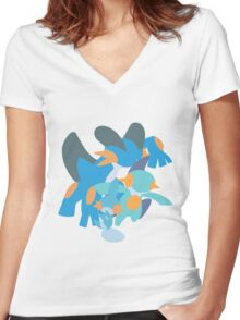 Mudkip Evolution Women's Fitted V-Neck T-Shirt