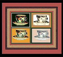 Vintage Tea Cup Altered Art Collage by SaraValor