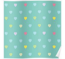 Heart shaped love vector cute pattern Poster